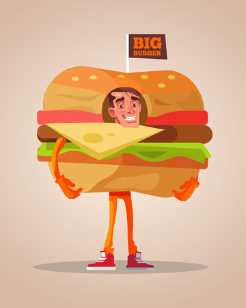 Happy smiling man promoter character mascot dressed in hamburger suit. Vector flat cartoon illustration Illustration