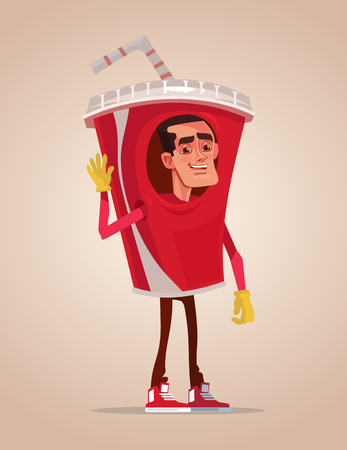Happy smiling man promoter character mascot dressed in soda suit. Vector flat cartoon illustration