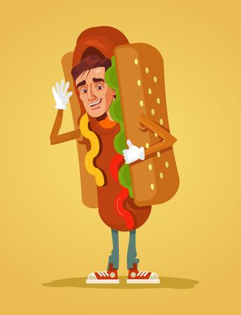 Happy mascot dressed in hot dog suit. Vector flat cartoon illustration