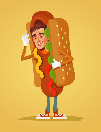 Happy mascot dressed in hot dog suit. Vector flat cartoon illustration