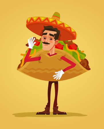 Happy smiling man promoter character mascot dressed in tacos suit. Vector flat cartoon illustration