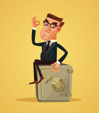 Happy smiling business man sitting on a safe box and showing ok sign. Vector flat cartoon illustration Stock Illustratie