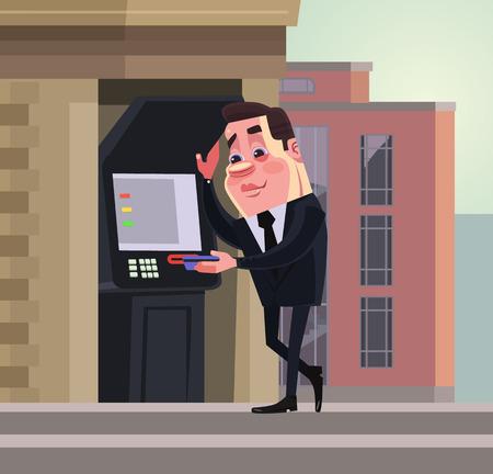 Happy smiling business worker. Money transaction. Vector flat cartoon illustration Illustration