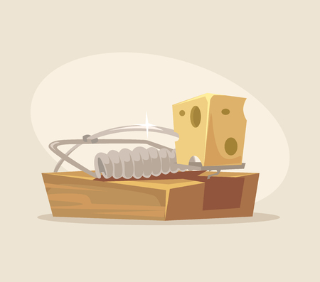Mousetrap icon. Vector flat cartoon illustration Çizim