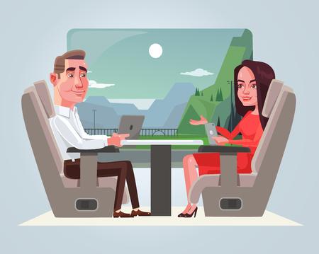 행복 한 미소 비즈니스 남자와 여자 문자 기차에서 이야기. 여행 개념입니다. 벡터 평면 만화 일러스트 레이션