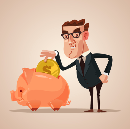 Happy smiling businessman in a piggy bank. Successful business concept. Vector flat cartoon illustration Ilustrace
