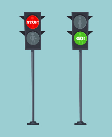 Traffic lights stop red and go green sign. Vector flat cartoon illustration