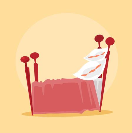 literas: Red isolated bed. Vector flat cartoon illustration