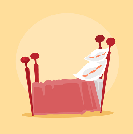 Red isolated bed. Vector flat cartoon illustration