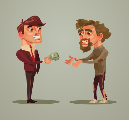 Gelukkige glimlachende mens die geld dakloos geeft. Liefdadigheidsschenkingsconcept. Vector platte cartoon illustratie