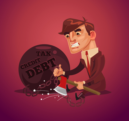 Sad unhappy businessman office worker character trying escape from debt with ax. Vector flat cartoon illustration