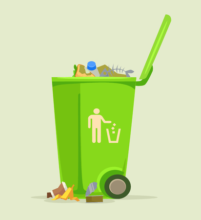 Trash can basket dustbin isolated icon. Vector flat cartoon illustration