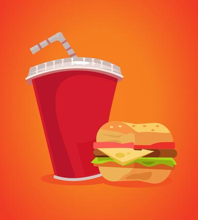 햄버거와 소다 패스트 푸드입니다. 벡터 평면 만화 일러스트 레이션 일러스트