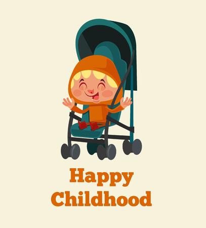 유모차에 앉아 행복 웃는 소녀. 행복 한 어린 시절 개념입니다. 벡터 평면 만화 일러스트 레이션