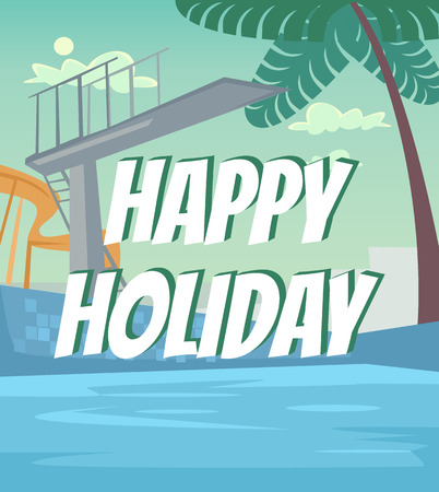 Swimming pool hotel banner. Happy holiday concept. Vector flat cartoon illustration