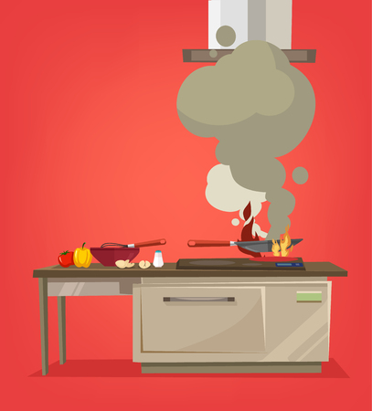 On kitchen stove burns food. Vector flat cartoon illustration Illustration
