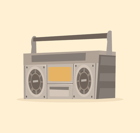 Isolated old tape recorder icon. Vector flat cartoon illustration