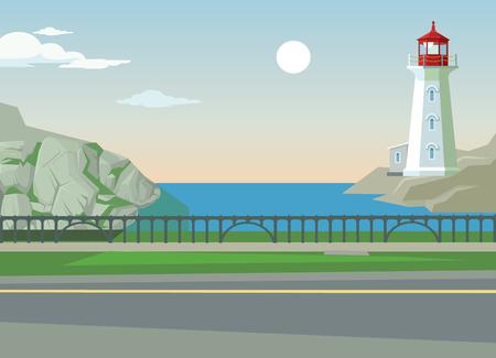 언덕과 바다와 녹색 풍경입니다. 자연 가운데 아스팔트. 벡터 평면 만화 일러스트 레이션