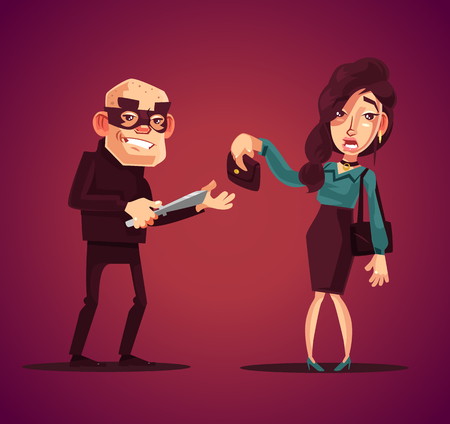 Angry bad thief man character robs frightened woman at knife. Vector flat cartoon illustration