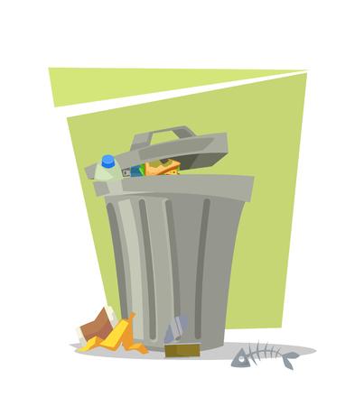ゴミ箱のゴミ箱分離アイコン。ベクトル フラット漫画イラスト