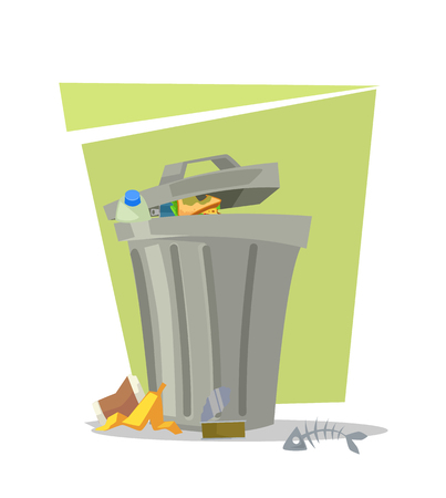 Garbage trash bin isolated icon. Vector flat cartoon illustration Illustration