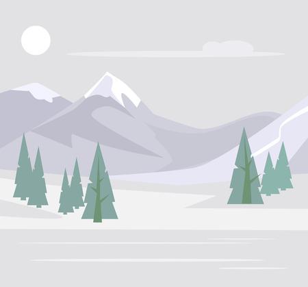 Snowy forest. Vector flat cartoon illustration