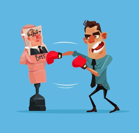 Uomo arrabbiato arrabbiato Uomo uomo uomo batte manichino di boxe con foto del boss. Illustrazione vettoriale piatto vettoriale