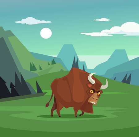 Angry bull character grazing in field. Vector flat cartoon illustration