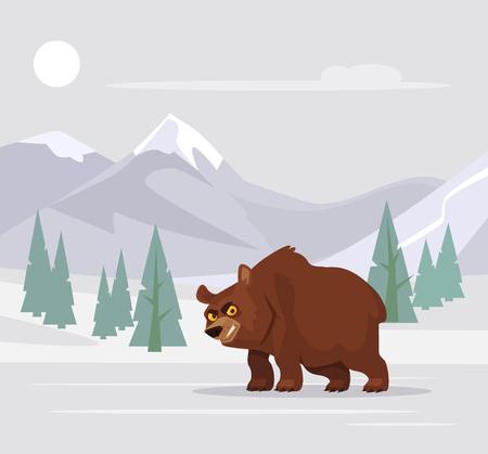 Angry hungry bear. Vector flat cartoon illustration Иллюстрация