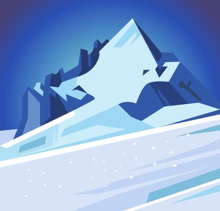 Winter snowy mountains. Vector flat cartoon illustration 版權商用圖片 - 82662036