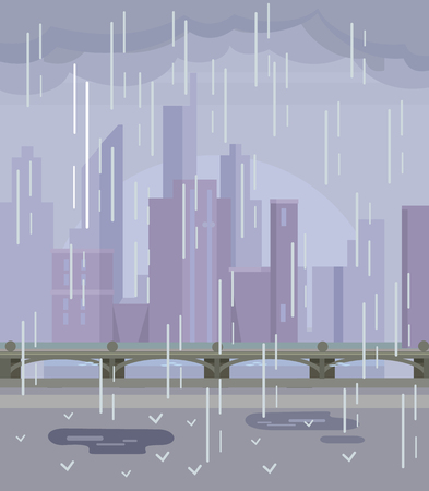 Rainy empty city. No people. Vector flat cartoon illustration