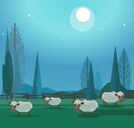 풀밭에 방목하는 행복 웃는 양들의 무리. 벡터 플랫 만화 일러스트 레이션
