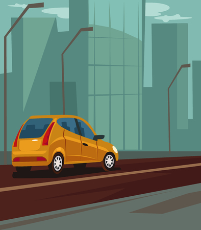 Highway with moving car. Vector flat cartoon illustration