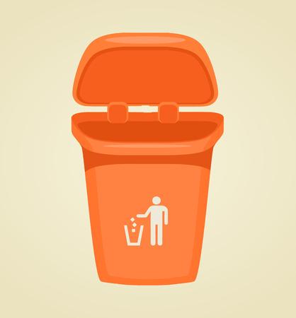 Vector trash bin isolated icon. Vector flat cartoon illustration Illustration