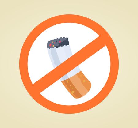 分離された赤、白サイン禁煙。ベクトル フラット漫画イラスト  イラスト・ベクター素材