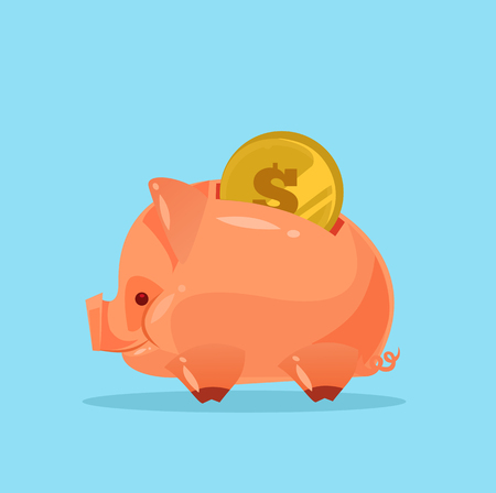 Happy smiling piggy bank with gold coin. Vector flat cartoon illustration Illustration