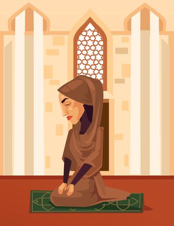 Muslim woman character praying in mosque. Vector flat cartoon illustration Illustration