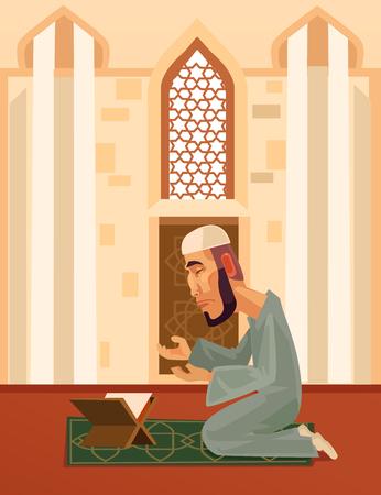 Muslim man. Vector flat cartoon illustration