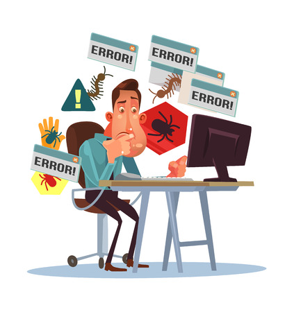 Business scary depressed man with broken computer. Error window. Dangerous computer virus. Cyber ??fraud. Vector flat cartoon illustration Иллюстрация