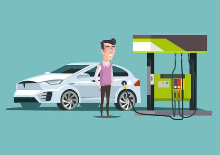 ガソリン スタンドと幸せ笑顔します。ベクトル フラット漫画イラスト