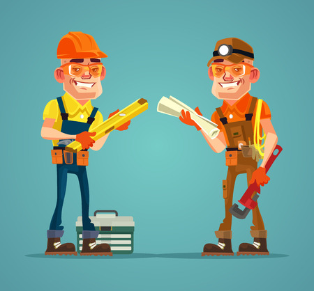 Two happy smiling hard working builders. Vector flat cartoon illustration Illustration