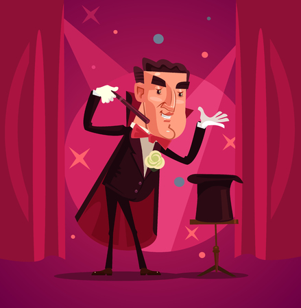 Happy smiling magician. Vector flat cartoon illustration Иллюстрация