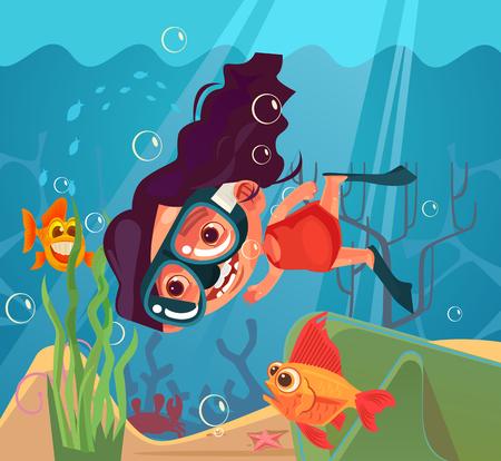Happy smiling girl character scuba diving. Vector flat cartoon illustration Ilustração