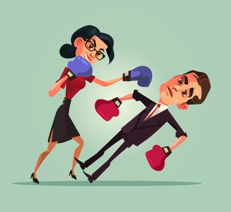 Two angry office workers characters boxing. Discrimination concept. Vector flat cartoon illustration