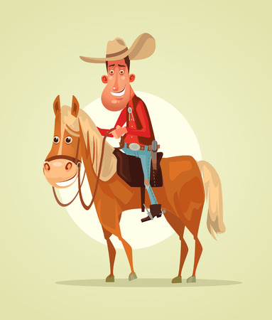 Happy smiling cowboy sheriff character ride horse. Vector flat cartoon illustration