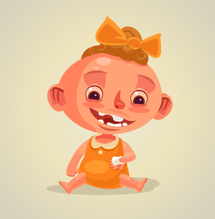 Happy smiling child. Vector flat cartoon illustration
