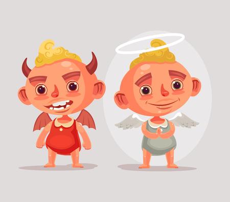 Engel und Teufel Kinder Zeichen. Vektor flache Cartoon-Illustration Standard-Bild - 84561963