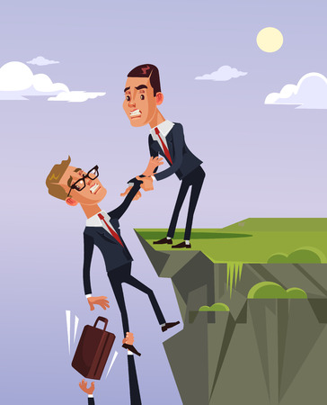 ビジネスマンが手を差し伸べ、金融危機から抜け出すのを助ける仕事仲間を与えているサラリーマンのキャラクター。ベクトルフラット漫画のイラスト 写真素材 - 85562207