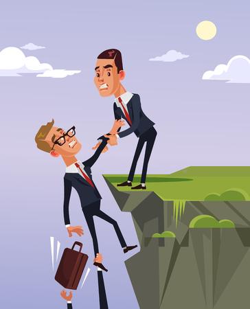 Carácter de trabajador de oficina de empresario dando a colega mano amiga y ayudar a salir de la crisis financiera. Ilustración de dibujos animados plano de vector