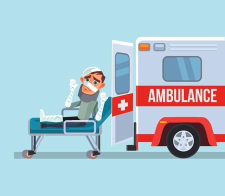 Krankenwagenauto und gebrochener Opfermanncharakter. Flache Karikaturillustration des Vektors